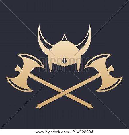 Vikings Helmet and crossed axes, eps 10 file, easy to edit