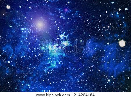 Deep space background with stardust and shining star. Milky way cosmic background. Star dust and pixie dust glitter space backdrop. Space stars and planet conceptual image.