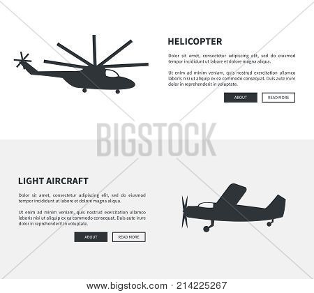 Helicopter and light aircraft black sihouettes set of web banners with inscription. Vector illustration of plane and type of rotorcraft