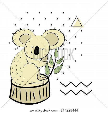 Koala, A Hand Drawn Vector Illustration Of A Cute Koala, The Koala, White Line, And Background Trees