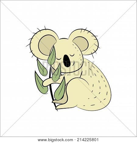 Koala, a hand drawn vector illustration of a cute koala, the koala, white line, and background trees are on separate groups for easy editing.