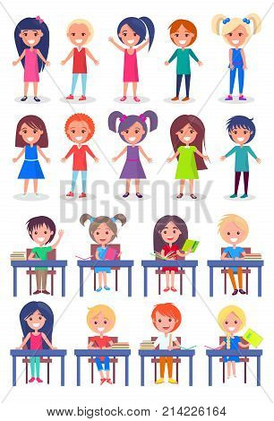 Set of schoolchildren sitting at desks and standing isolated on white background. Smiling boys and girls ready to answer on questions vector illustrations