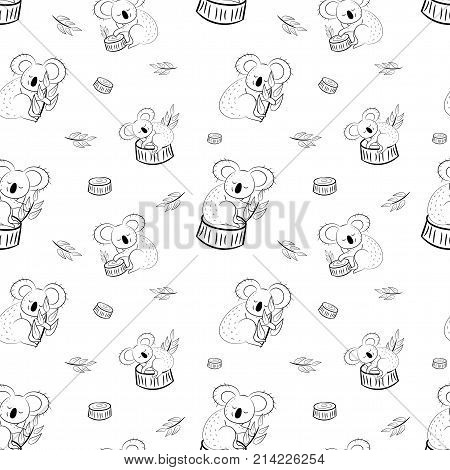 Cute bear koala doodle seamless pattern. Vector background with koalas can be used for baby textile, tshirt, wallpapers, posters and more.