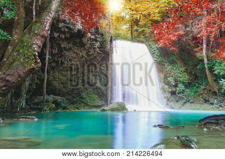 20 Most Beautiful Waterfalls on Earth Erawan Waterfall, beautiful waterfall in rainforest at Kanchanaburi province, Thailand
