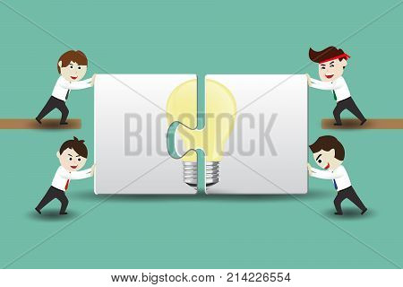 Leadership and teamwork concepts. Business people assembling pieces of a puzzle to successful ideas, working team to reach the goal. Flat design vector cartoon illustration