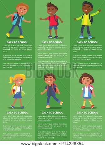 Back to school collection of posters with inscriptions. Isolated vector illustration of school-aged boys and girls on green background