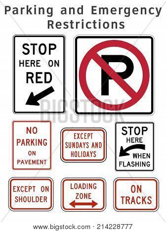 Regulatory Traffic Sign. Parking And Emergency Restrictions. Vector Illustration.