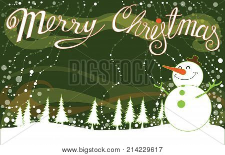 Merry Christmas Background landscape green and snow man to smiling be happy cartoon acting vector design have word my font and copy space and split layer.