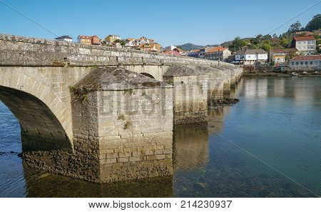 Ancient bridge of Pontesampaio, Arcade, Camino de Santiago trail, Spain