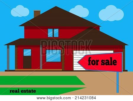 House For sale. The house and sign in the foreground with the information. Vector illustration