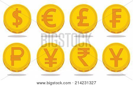 Vector set of world currency symbols in the form of gold coins with signs: dollar, euro, pound, franc, ruble, yen, rupee, yuan isolated on white background. Financial logos.