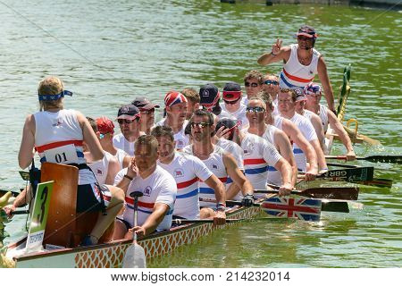 Rome Italy - July 30 2016: Dragon boat crews compete at the european championships held in Italy in 2016 summer the England crew