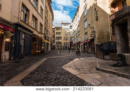 Lyon France--November 6 2017--Shops and Restaurants clustered in the Old City section of Lyon. Editorial Use Only.