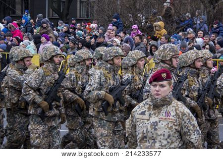 November 18, 2017. NATO soldiers at military parade in Riga, Latvia. Parade in honor of proclamation of Latvia at November 18 for the Independence Day