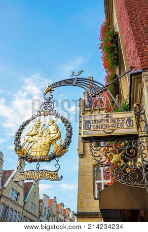 Historic Pub Sign In Münster, Germany