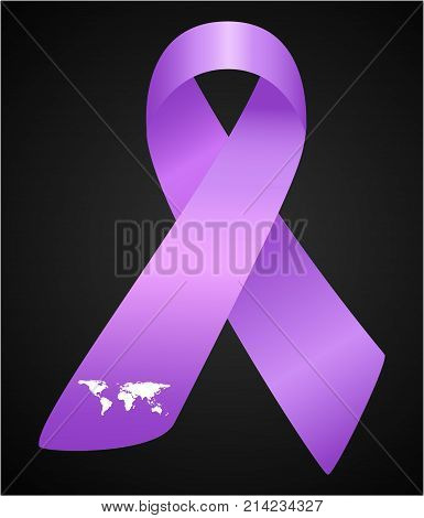 Vector illustration of stylish ribbon for World Lupus Day. Purple awareness realistic ribbon with wordl map isolated on black background.