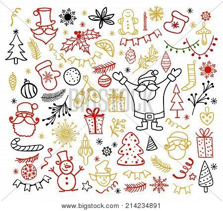 Big set of Christmas design element in doodle style. Traditional winter holiday hand drawn icons vector illustration