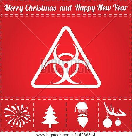 Bio hazard Icon Vector. And bonus symbol for New Year - Santa Claus, Christmas Tree, Firework, Balls on deer antlers