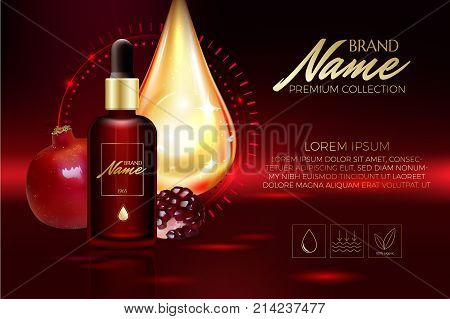 Advertising Poster For Cosmetic Product For Catalog, Magazine. Vector Design Of Cosmetic Package. An