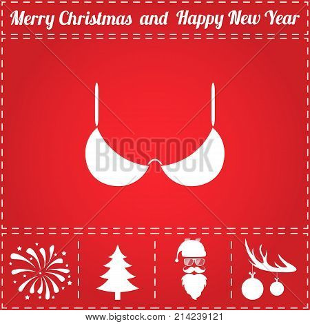 Brassiere Icon Vector. And bonus symbol for New Year - Santa Claus, Christmas Tree, Firework, Balls on deer antlers