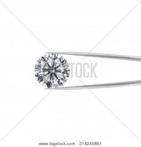 diamond in tweezers on a white background.