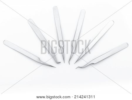 blank template set metal tweezers for artificial or fake eyelashes for your design, copy space, white background.