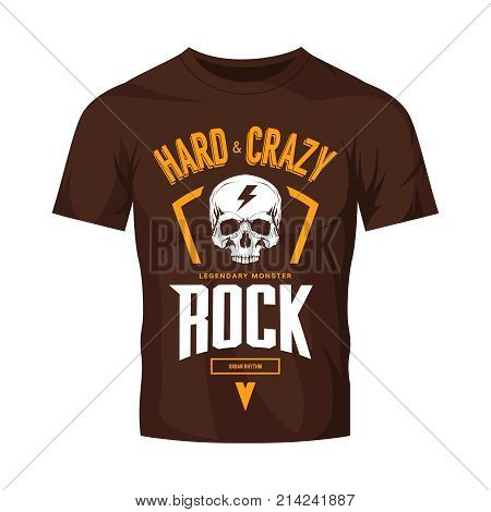 Vintage hard and crazy rock vector logo isolated on dark t-shirt mock up. Premium quality skull logotype tee-shirt emblem illustration.Street wear legendary music style old retro tee print design.
