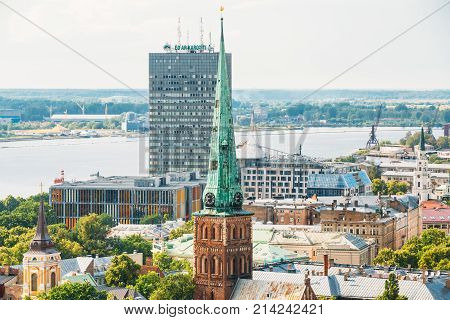 Riga, Latvia - July 1, 2016: Summer Riga Cityscape. Top View On Famous Landmark - St. James's Cathedral, or the Cathedral Basilica of St. James. The church is sometimes wrongly called St. Jacob's.