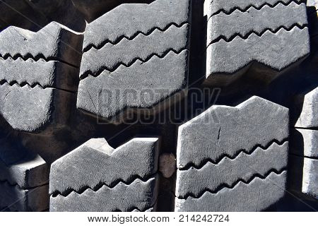 Tire tread from earth moving equipment, closeup