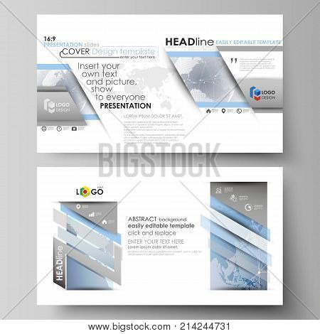 The minimalistic abstract vector illustration of the editable layout of high definition presentation slides design business templates. Technology concept. Molecule structure, connecting background