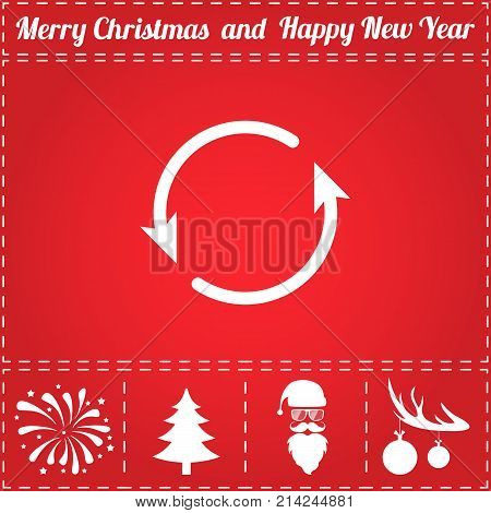 Reload Icon Vector. And bonus symbol for New Year - Santa Claus, Christmas Tree, Firework, Balls on deer antlers
