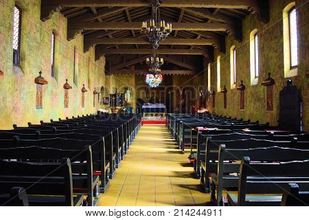 October 27, 2017 in Ontario, CA:  San Secondo D'Asti Catholic Church which is a historic cathedral with Spanish Italian architectural design where people can visit daily and attend Saturday and Sunday Services while being around a beautiful ambiance
