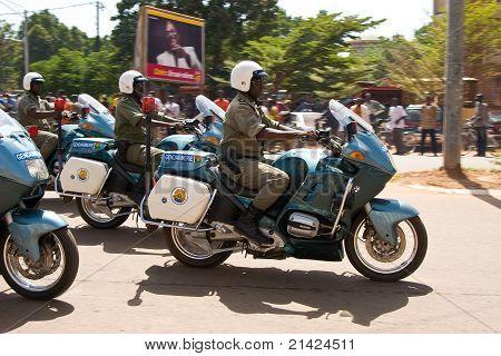 Policemen at a military parade in Ouagadougou, Burkina Faso