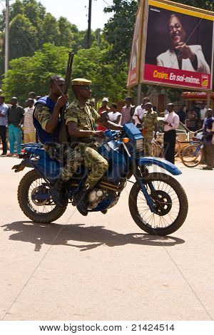 Soldiers on motorcycle at a military parade in Ouagadougou, Burkina Faso