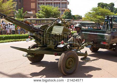 Anti-aircraft artillery at a military parade in Ouagadougou, Burkina Faso