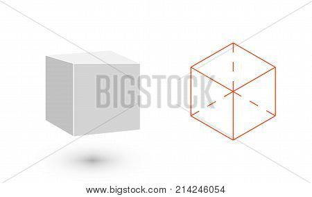cube is a geometric figure. Hipster Fashion minimalist design. Film solid bodies. cube flat design vector illustration, fine art line. Vector illustration.