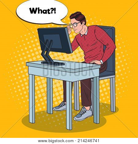 Pop Art Weak-Eyed Young Man Working at the Computer. Vector illustration