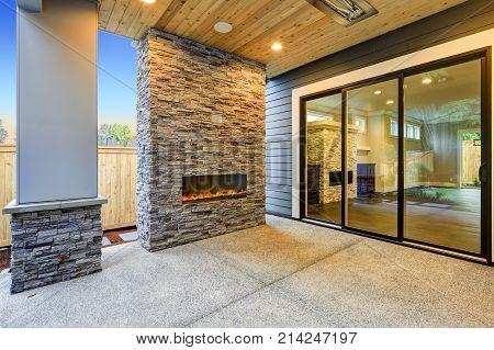 Outside covered Patio boasts gorgeous stone Fireplace. Northwest USA
