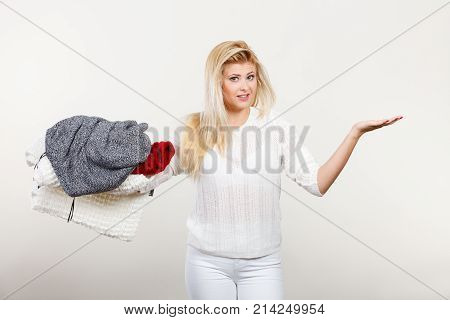 Woman Holding Many Clothing, Open Hand For Product