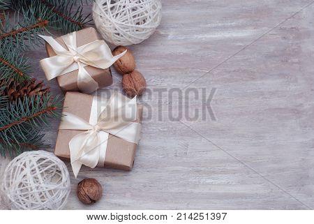 Cristmas Gift Present Brown Box with Fir