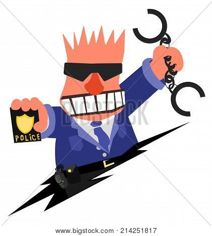 Policeman angry arresting cartoon, vector illustration horizontal, over white, isolated