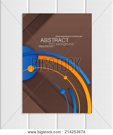 Stock vector brochure A5 or A4 format material design style. Design business templates with blue abstract round shapes on brown backgrounds for printed material, element corporate style, card, cover