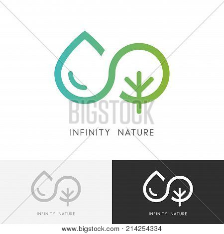 Infinity nature logo - a drop of water and tree or plant symbol. Ecology, environment and agriculture vector icon.