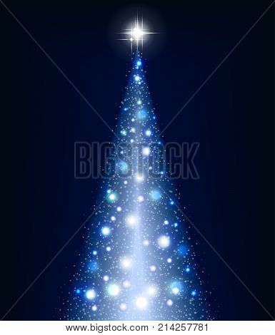 Christmas blue tree on a black background and lots of brilliance