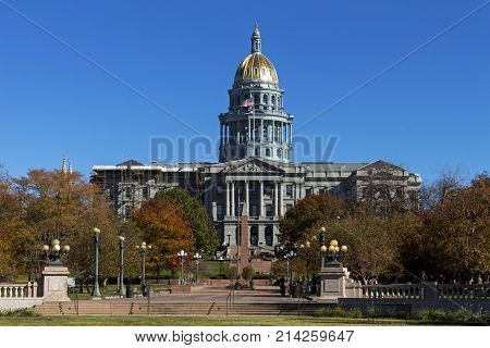 View from the park on Denver Colorado Capitol in Colorado,America.