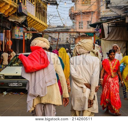 People On Street In Pushkar, India