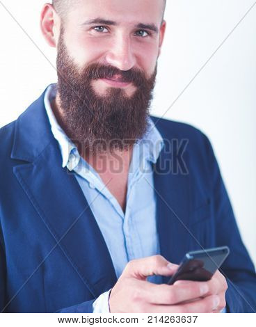 Close up of a man using mobile smart phone, isolated on white background