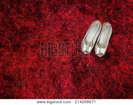 Silver shiny high-heeled shoes stiletto on red carpet