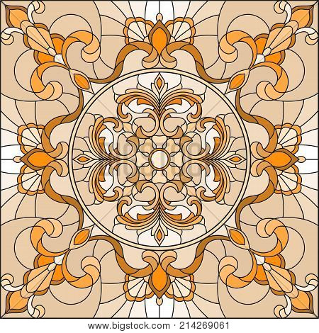 Illustration in stained glass style with abstract swirls and leaves on a light backgroundsquare orientation sepia