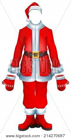 Fur coat santa accessory traditional Christmas clothes. Hat, suit, mittens, boots. Isolated on white vector cartoon illustration